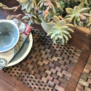 Recycled Teak Placemats Set (Set of 2)
