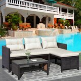 Antolin Outdoor 3 Piece Rattan Sectional Seating Group with Cushions by Latitude Run®