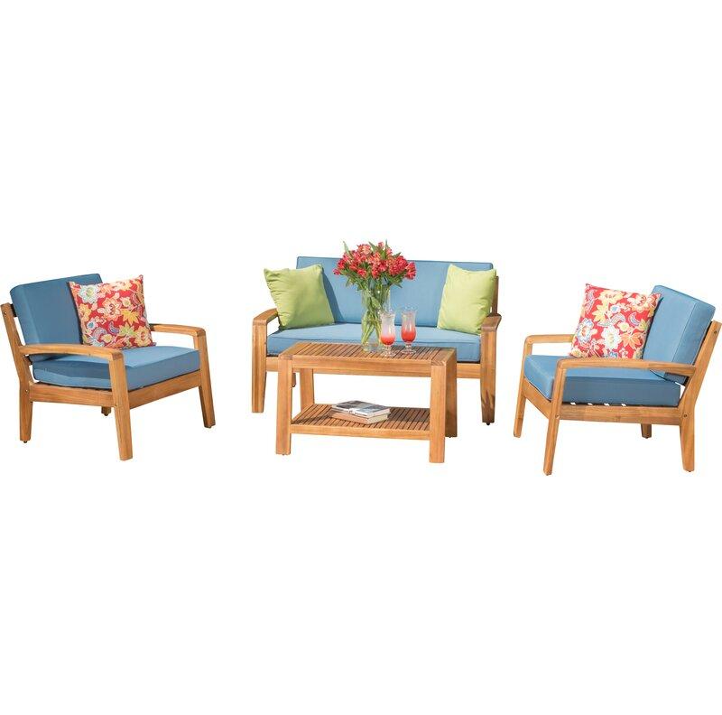 Sol 72 Outdoor Berkley 4 Piece Sofa Set with Cushions & Reviews ...
