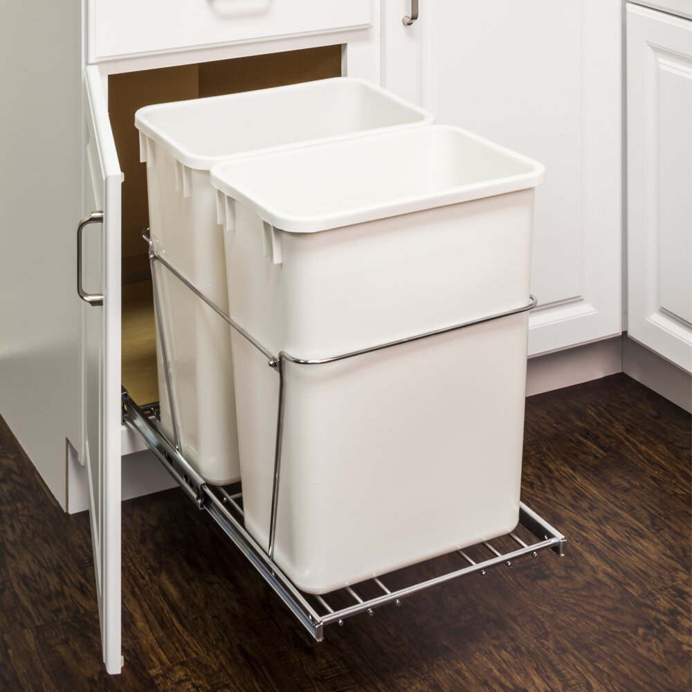 Hardware Resources Double Steel 8.75 Gallon Open Pull Out/Under Counter  Trash Can U0026 Reviews | Wayfair