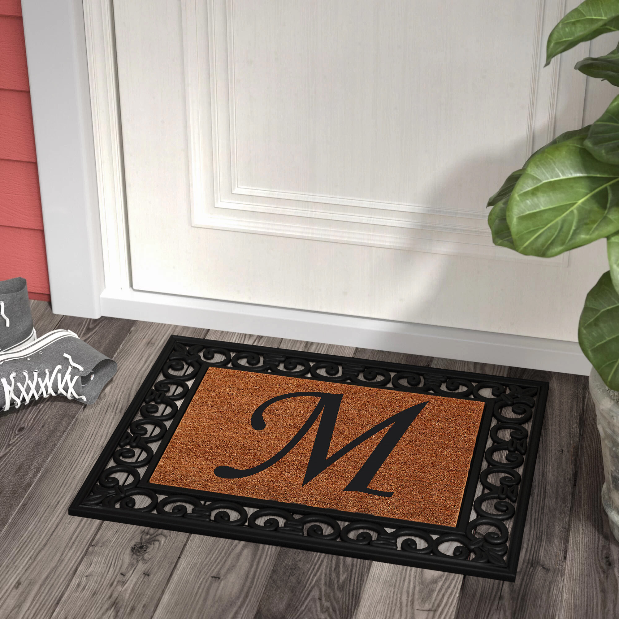 High Quality Postal Stamp Rubber Moulded Doormat With Inserted Welcome Coir Mat.