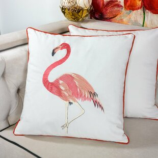 Blanquilla Embroidery Flamingo Velvet Throw Pillow