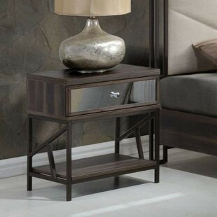 Mabrey Wood and Metal 1 Drawer Nightstand