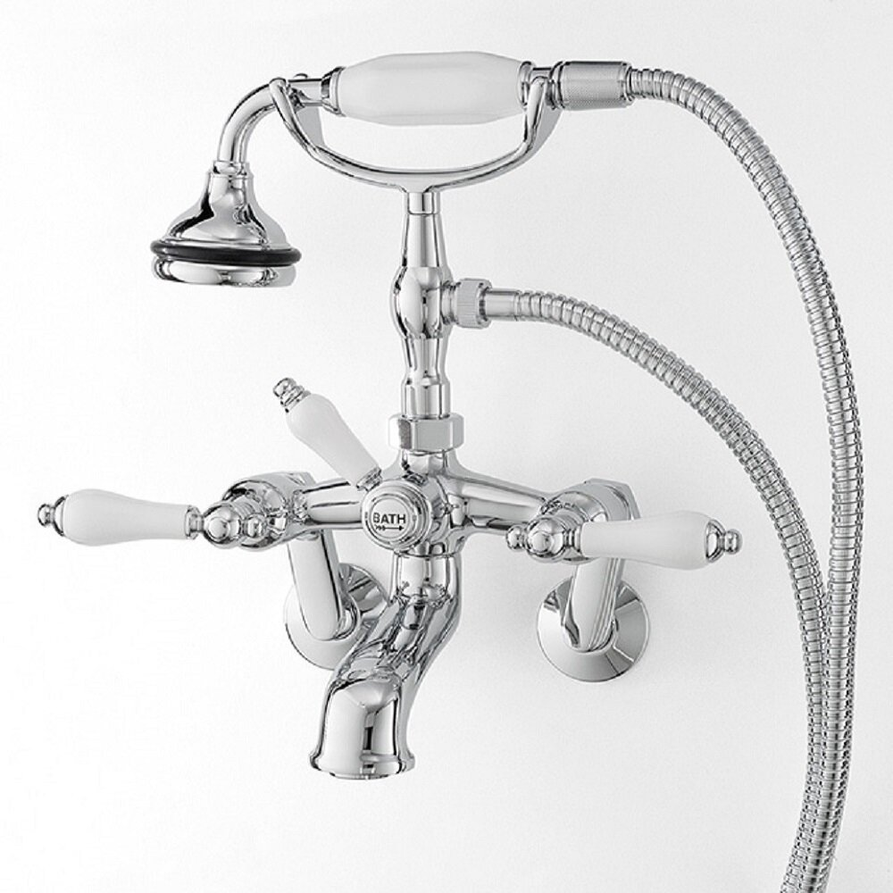 Cheviotproducts Double Handle Wall Mounted Clawfoot Tub Faucet Trim With Diverter And Handshower Wayfair