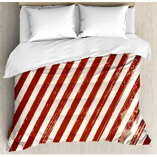 4th of July American Puppy with Peace Fingers Gesture Humor National Day Victory Design Duvet Set by East Urban Home