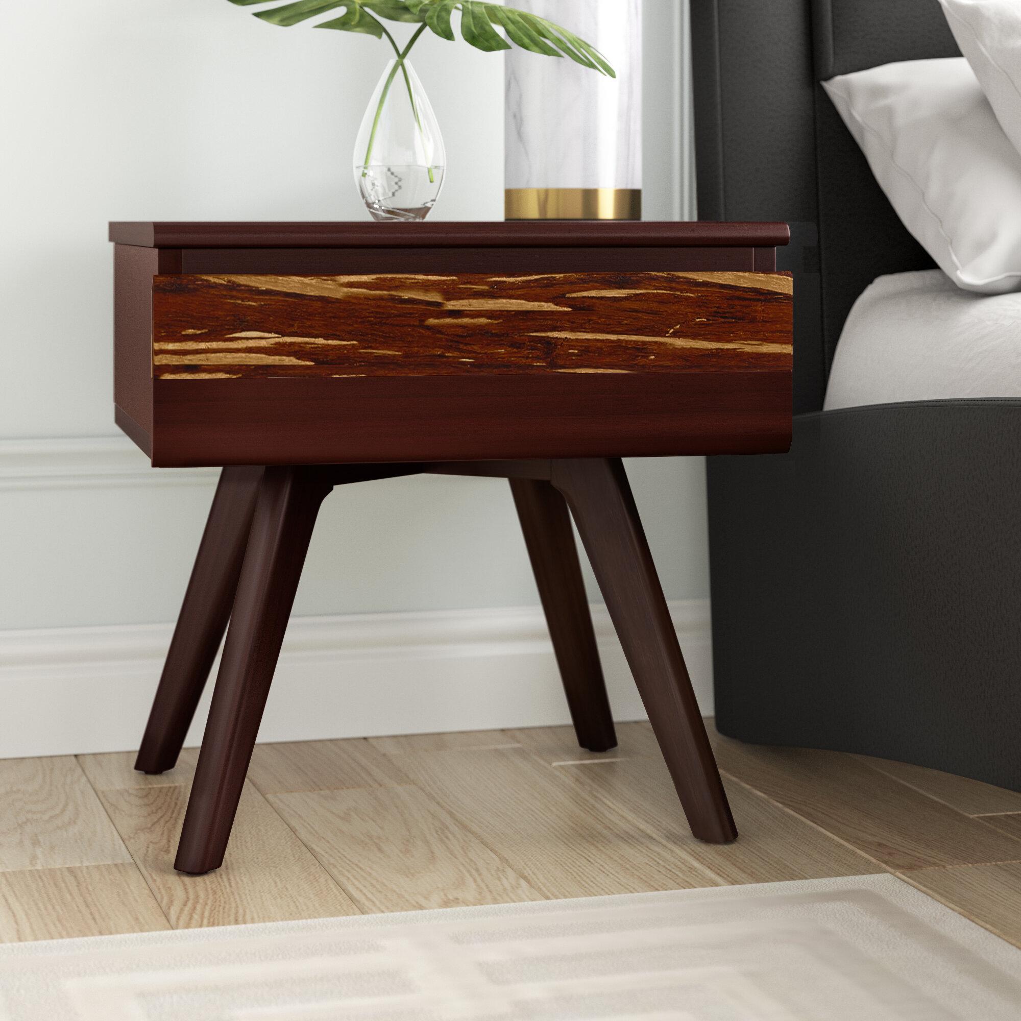 Brayden Studio Lendella 1 Drawer Solid Wood Nightstand In Brown Reviews Wayfair