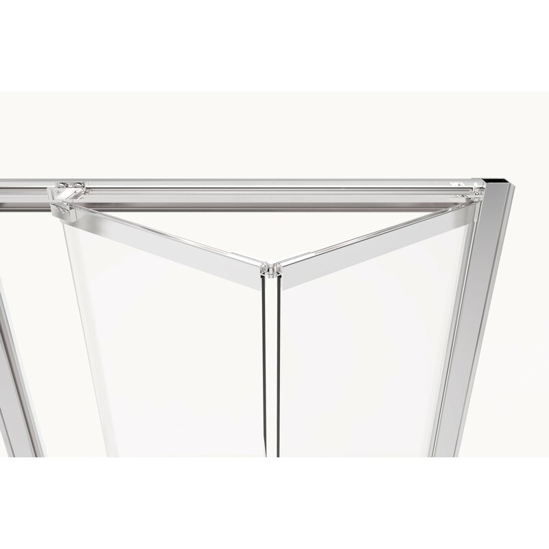 "Basco Infinity Bifold 37"" x 67"" Folding Semi-Frameless Shower Door  Finish: Brushed Nickel, Glass Type: Clear"
