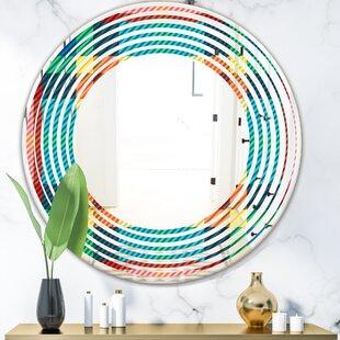 Wave Tartan Geometrical Texture III Modern Frameless Wall Mirror by East Urban Home
