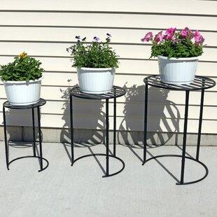 Homestown Modern Indoor Outdoor Nesting 3 Piece Plant Stand Set