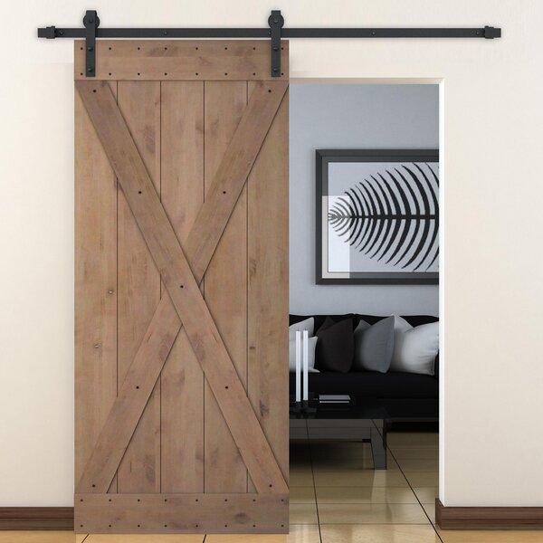 Calhome Bent Strap Sliding Door Track Hardware And X Overlay Primed Sliding  Knotty Solid Wood Panelled Alder Slab Interior Barn Door   Wayfair
