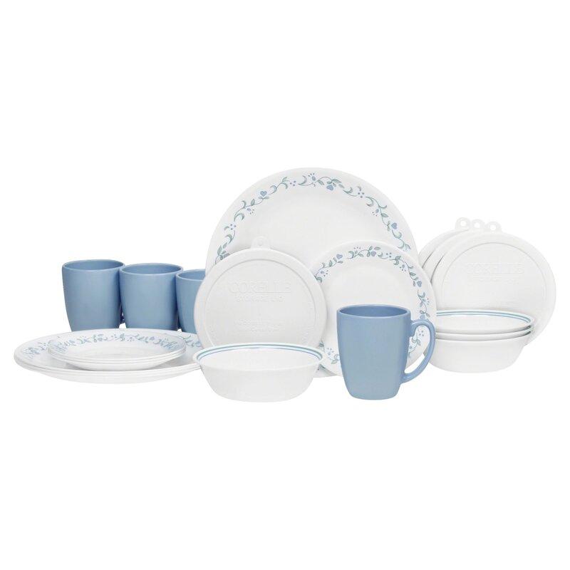 Livingware Country Cottage 20 Piece Dinnerware Set Service for 4  sc 1 st  Wayfair & Corelle Livingware Country Cottage 20 Piece Dinnerware Set Service ...