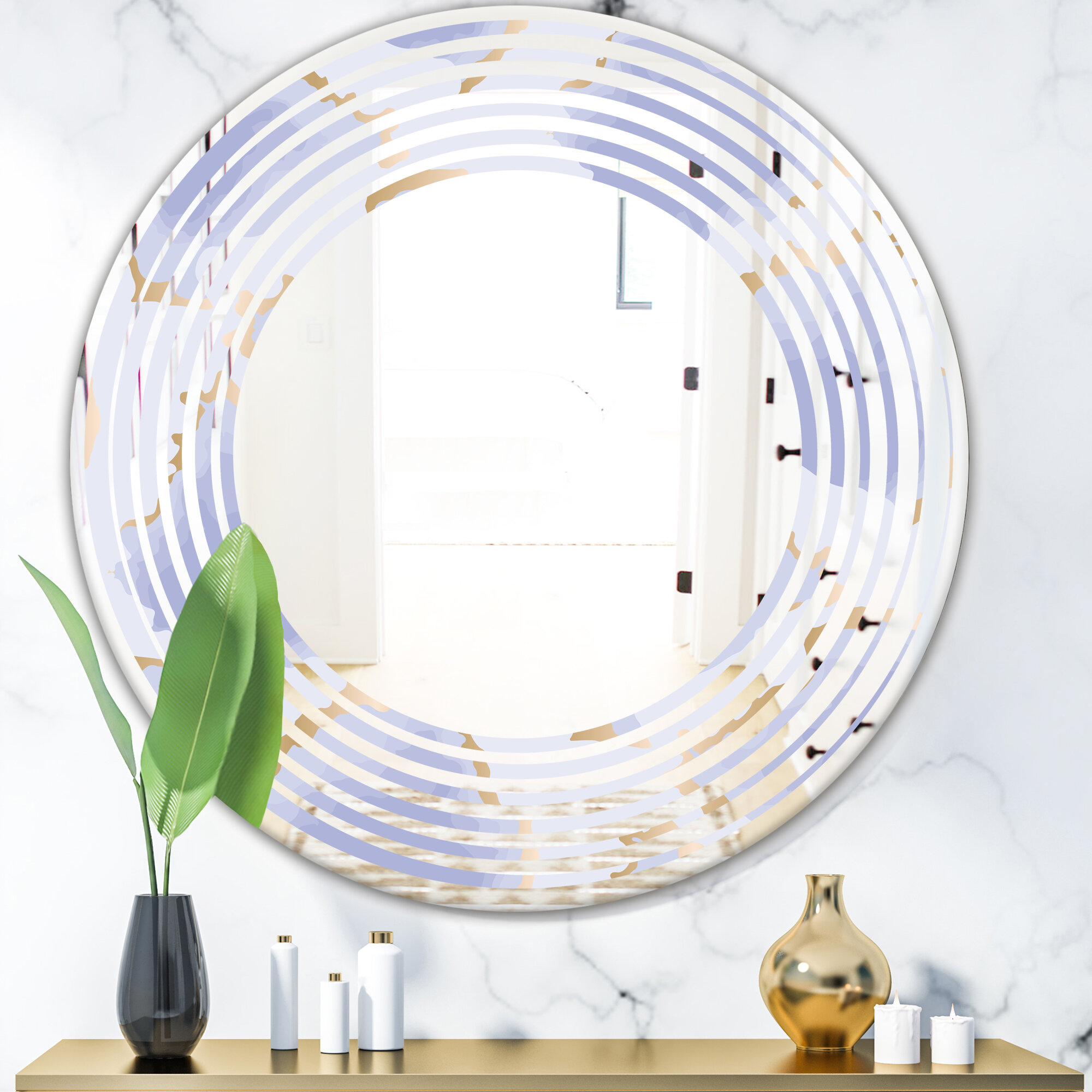 East Urban Home Wave Pastel Abstract Shapes Pattern Modern Frameless Wall Mirror Wayfair