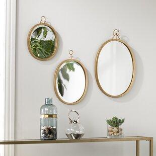 Brayden Studio 3 Piece Oval Metal Frame Mirror Set