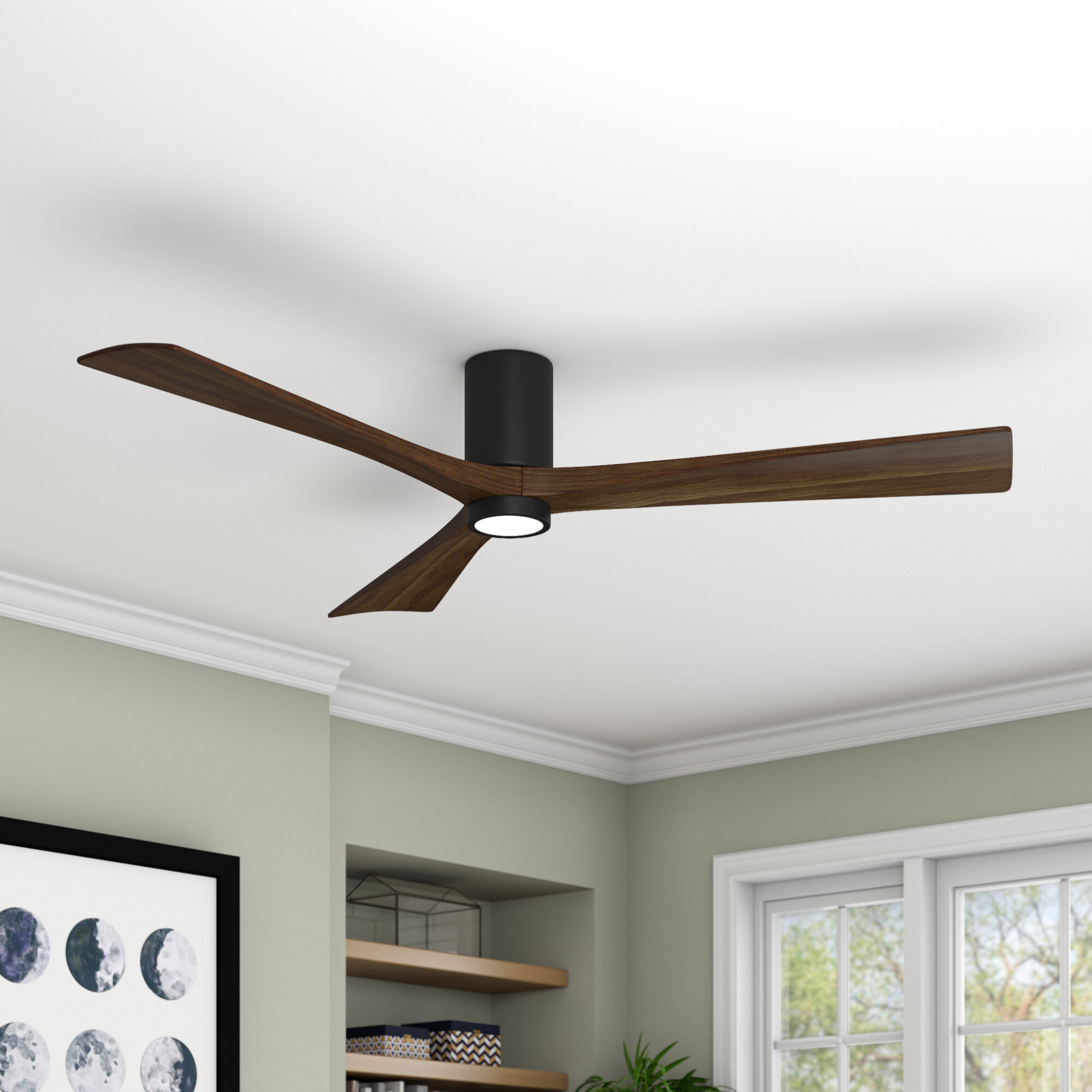 60 Rosalind 3 Blade Hugger Ceiling Fan With Wall Remote And Light Kit