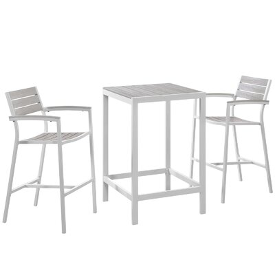 Windsor 3 Piece Bar Height Dining Set by Sol 72 Outdoor 2020 Sale