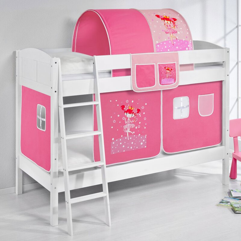 Just Kids Princess European Single Bunk Bed With Bottom Bunk Curtain
