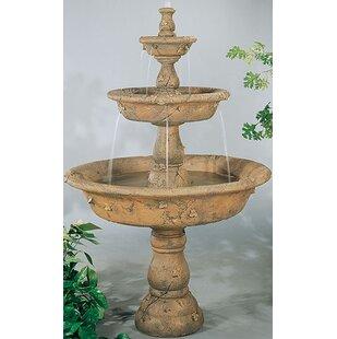 Henri Studio Tiered Concrete Triple Tazza Waterfall Fountain