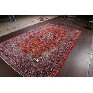 One-of-a-Kind Lawhorn Kashan Persian Traditional Hand-Knotted 7'11 x 12'2 Wool Red/Blue Area Rug ByIsabelline