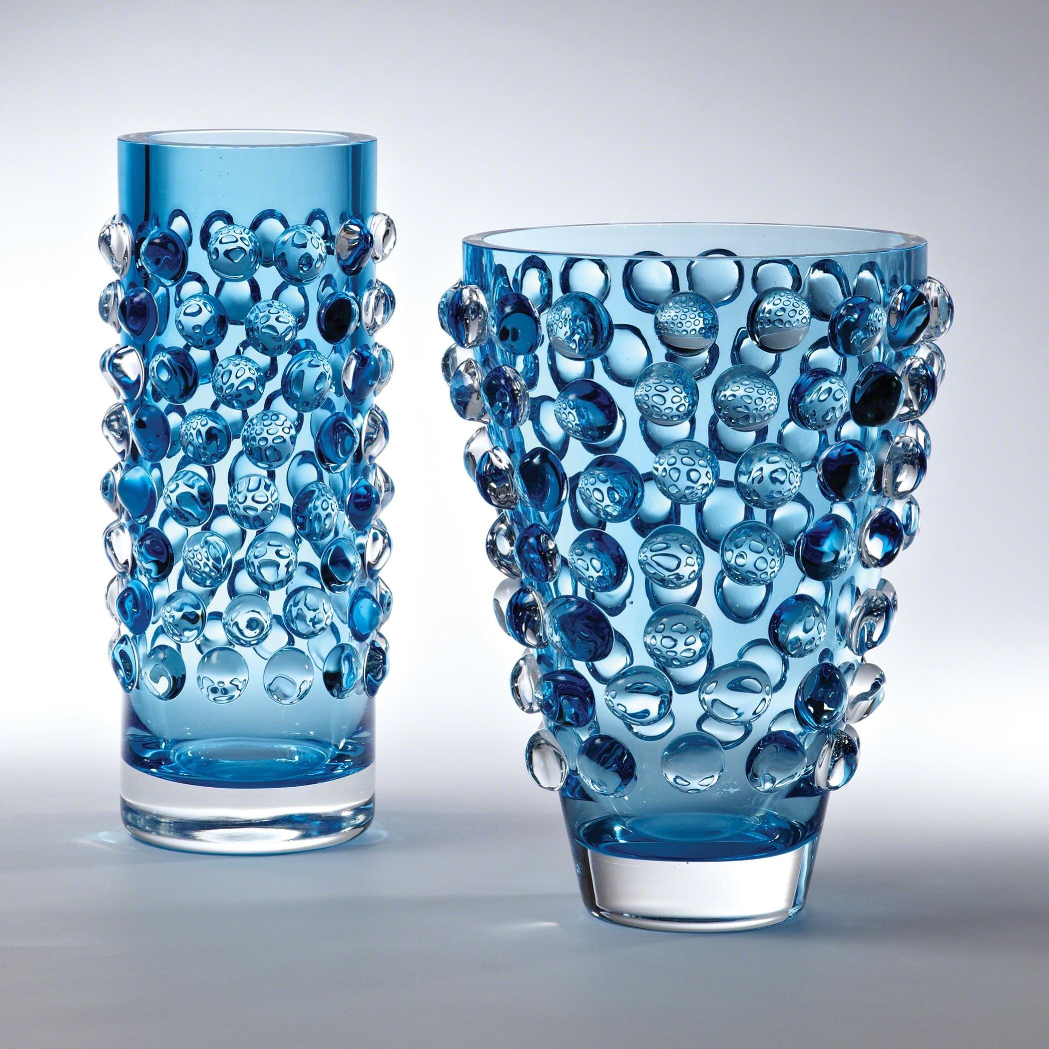Global Views Blue 11 75 Glass Table Vase Wayfair