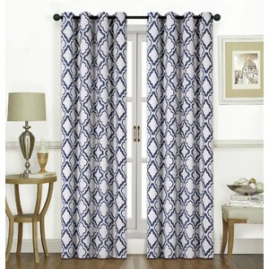 Kampsville Printed Geometric Room Darkening Grommet Single Curtain Panel