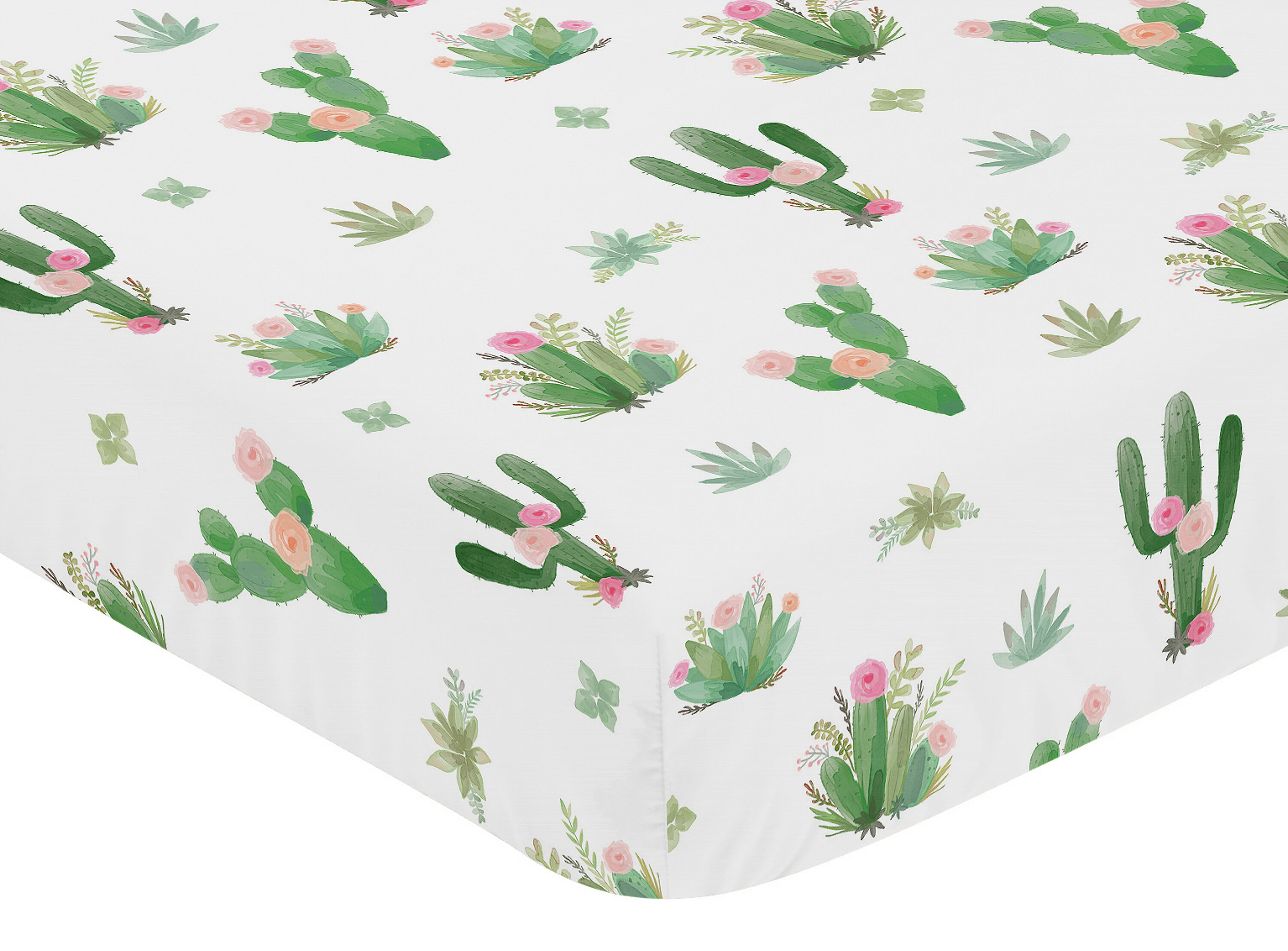 Cactus Floral Fitted Crib Sheet