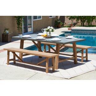 Gracie Oaks Malpass 3 Piece Outdoor Dining Set
