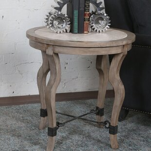 Rhys Travertine End Table by Gracie Oaks