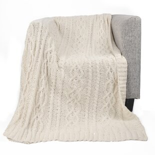 Keiran Luxury Sequin Soft Cable Knit Chenille Throw