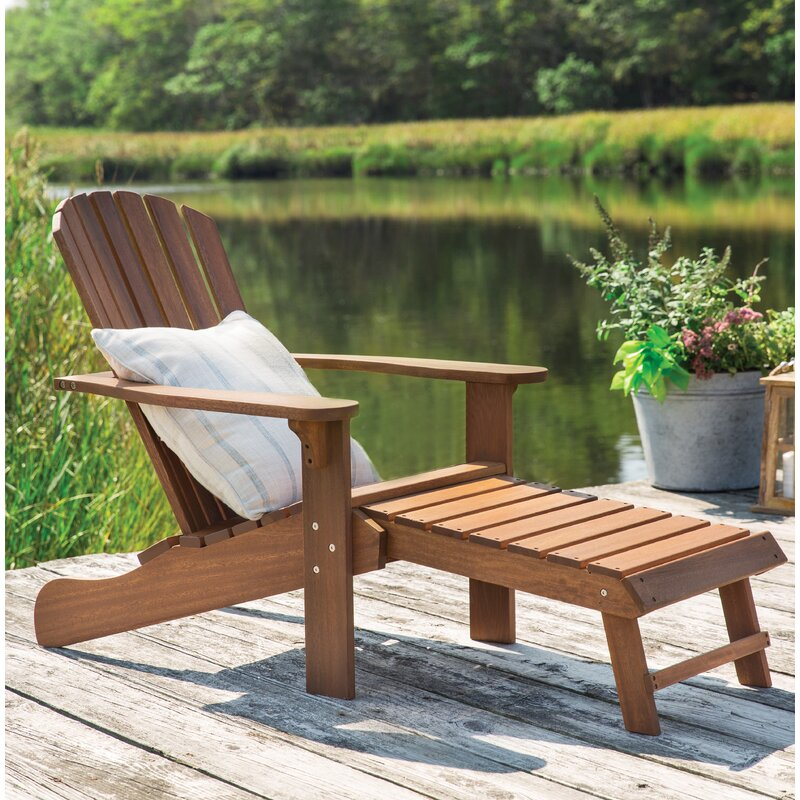Delatorre Wood Adirondack Chair With Ottoman