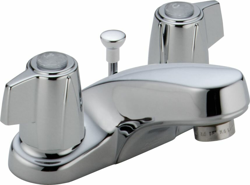 Classic Centerset Bathroom Faucet with Metal Blade Handles and Metal Pop-Up Drain