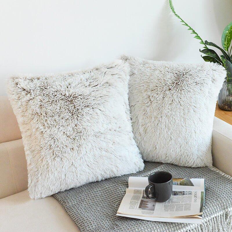 luxury soft square faux fur pillow cover