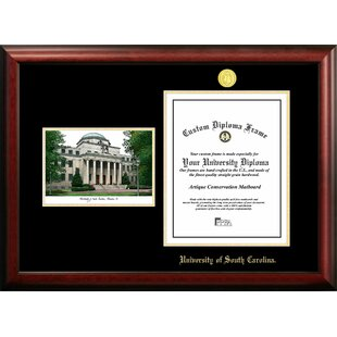 NCAA South Carolina Fighting Gamecocks Gold Embossed Diploma with Campus Images Lithograph Frame By Campus Images