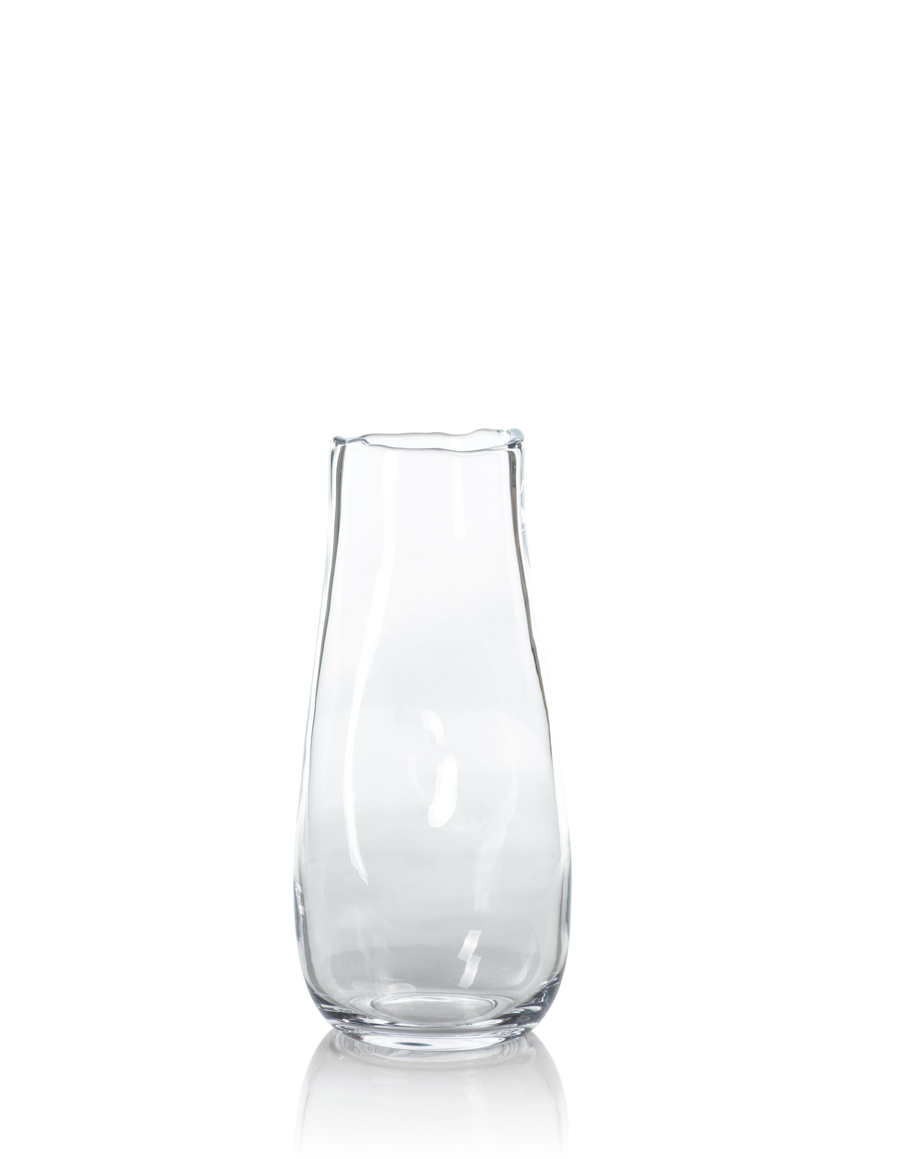 Orren Ellis Winham Clear 15 75 Glass Metal Table Vase Wayfair