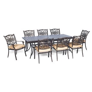 Three Posts Lauritsen 9 Piece Oil Rubbed Bronze Dining Set with Cushion