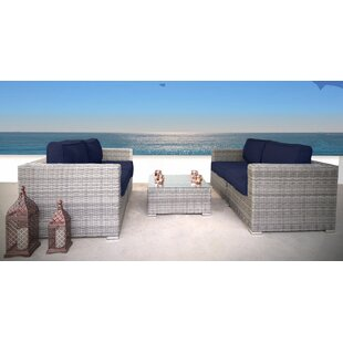 Cepeda 3 Piece Rattan Sectional Set with Cushions