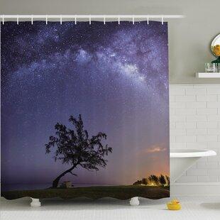 Inexpensive Tree Milky Way Stars Space Shower Curtain Set ByAmbesonne