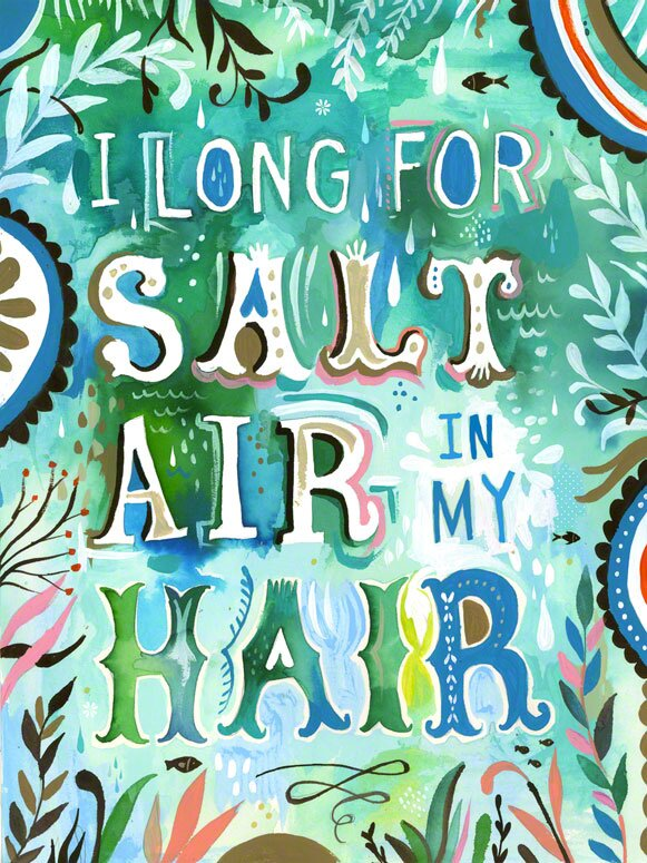 Salt Air in My Hair Framed Painting Print by Katie Daisy. Happy LOVE Day, Lovelies! Poetry, handlettered art, and colorful Valentine's Day finds await on Hello Lovely Studio!