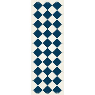 Best Price Oblak Diamond European Blue/White Indoor/Outdoor Area Rug By Winston Porter