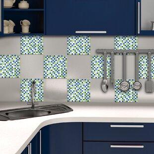 Home Decor Line 79 X 79 Vinyl Peel Stick Mosaic Tile In Green - Peel-and-stick-backsplash-tile-decoration