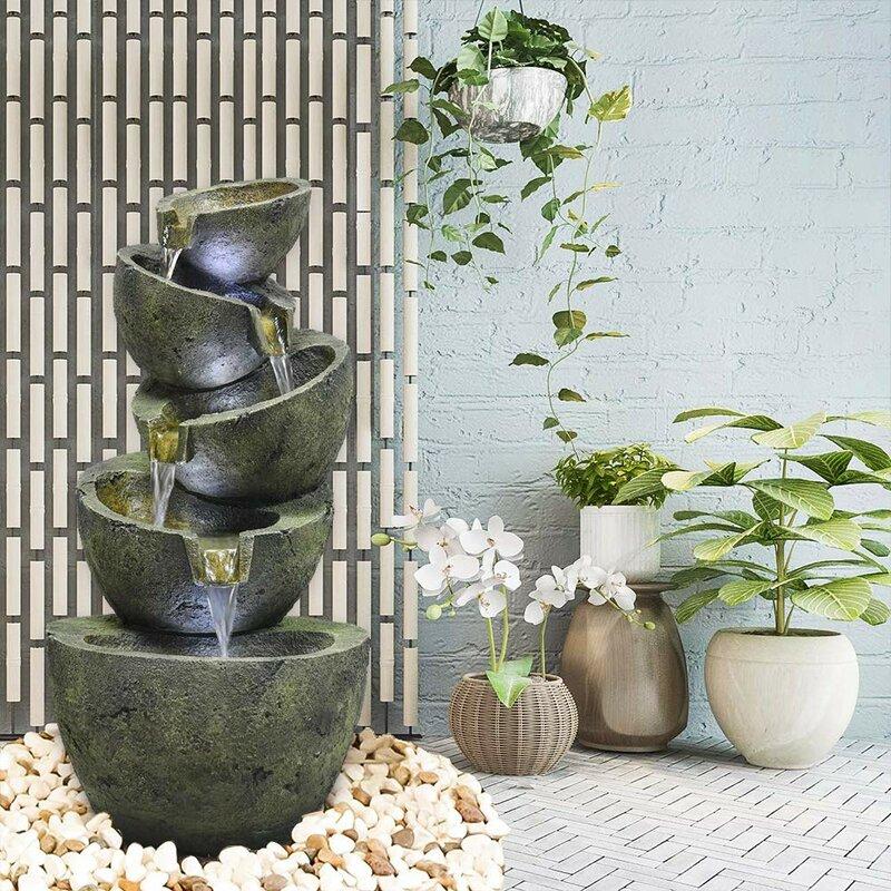 August Grove Heathcliff Resin Indoor Outdoor Bowls Water Fountain With Light Wayfair