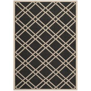 Vickers Looped Black/Beige Indoor/Outdoor Rug By Canora Grey
