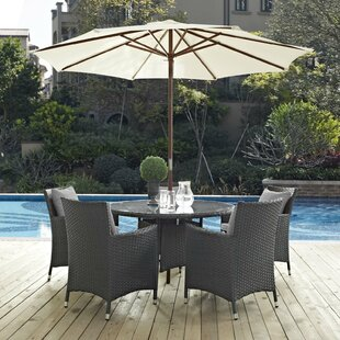 Brayden Studio Tripp 7 Piece Dining Set with Sunbrella Cushion and Umbrella