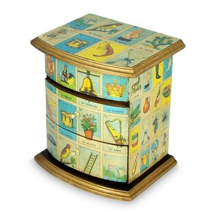 Affordable Mexican Loteria Decoupage Jewelry Box ByBloomsbury Market