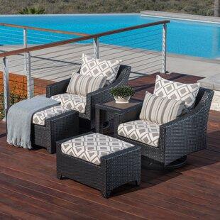 Northridge 5 Piece Rattan Sunbrella Conversation Set with Cushions