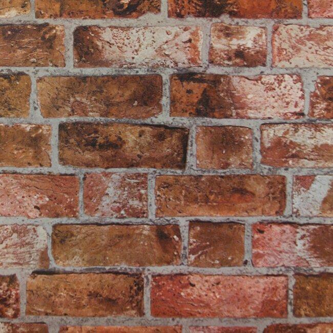 """Modern Rustic 33' x 20.5"""" Brick Distressed Wallpaper Roll"""