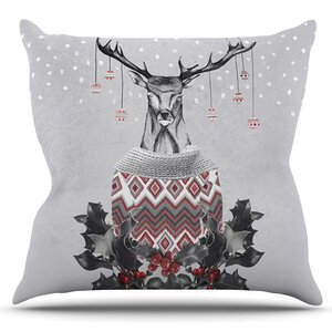 Christmas Deer Snow by Nika Martinez Outdoor Throw Pillow