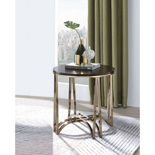 Shelva Contemporary Round Wood and Metal End Table by Everly Quinn