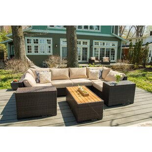 Rosecliff Heights Darden 9 Piece Rattan Sectional Seating Group with Cushions