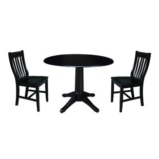 Angelia 3 Piece Drop Leaf Solid Wood Dining Set Canora Grey