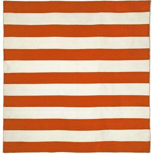 Ranier Stripe Hand-Woven Paprika Orange/Ivory Indoor/Outdoor Area Rug